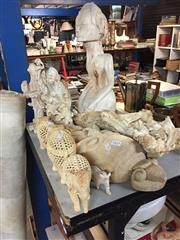 Sale 8659 - Lot 2425 - Collection of White Timber Oriental Figures, Mask, etc & Vine Root