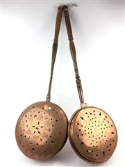 Sale 8730C - Lot 22 - Copper Bed Warmer with Another, length: 96cm