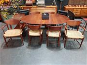 Sale 8801 - Lot 1015 - Hvidt and Molgaard-Neilsen Danish Dining Suite in 2 Carvers (T317) 4 Chairs (T316) and Extension Table (T311)