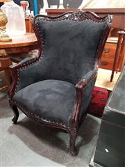 Sale 8876 - Lot 1067 - Mahogany Framed Bergere with Black Suede Finish