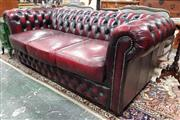 Sale 8939 - Lot 1016 - Burgundy Buttoned Leather 3 Seater Chesterfield Lounge. H: 80, W: 210, D: 100cm