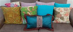 Sale 9162H - Lot 72 - A quantity of bright cushions including suede examples
