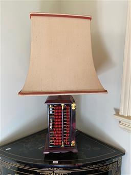 Sale 9190H - Lot 267 - An abacus form table lamp and shade, untested. Height 68cm