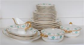 Sale 9195H - Lot 53 - A German miniature green and gold dinner service