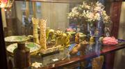 Sale 7962B - Lot 21 - Shelf Lot of Oriental Items including carved stone trees, cloisonné and carved bone items