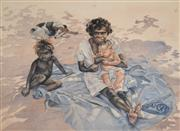 Sale 8000 - Lot 370 - Helen Baldwin (working 1940s - 1980s) - Untitled (Aboriginal Woman and Children) watercolour