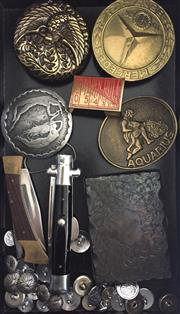 Sale 8369A - Lot 388 - A box of small wares including card case, belt buckles, pen knives, etc