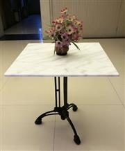 Sale 8402B - Lot 36 - French Style Table with White Marble Top on Cast Iron Base, 70 x 70cm