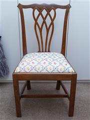Sale 8800 - Lot 230 - A late Georgian Chippendale style dining chair with floral upholstered drop in seat