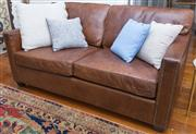 Sale 8530A - Lot 24 - A quality two seater brown leather sofa with brass stud details, W 170 x D 103 x H 82cm
