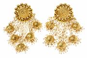 Sale 8564 - Lot 462 - A PAIR OF INDIAN CHANDELIER PEARL EARRINGS; set in silver gilt with fresh water seed pearls, length 9cm.