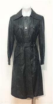 Sale 8550F - Lot 205 - A vintage 3/4 length dark green/black leather jacket, with forrest green silk lining, size 6-8.