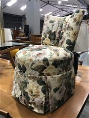 Sale 8809 - Lot 1033 - Upholstered Bedroom Chair with Timber Carver