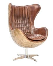 Sale 9010F - Lot 1 - A HAND AGED TOP GRAIN LEATHER WING CHAIR WITH  COPPER RIVETTED SKIN SHELL UPON A SWIVEL BASE H:116 W:86 D:76cm