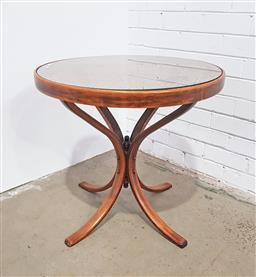 Sale 9126 - Lot 1187A - Victorian Style Beech Bentwood Round Occasional Table, with caned panel top & additional glass top (h:63 x d:67)