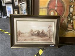 Sale 9123 - Lot 2097 - Margaret Lowray  Old House Kyneton, oil on canvas board, frame: 45 x 65 cm, signed lower right