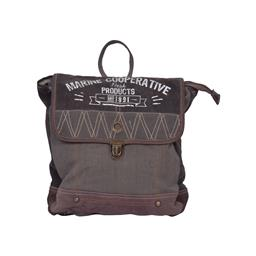 Sale 9140F - Lot 182 - Cotton & high veg leather backpack with metal clip & white writing. Dimensions: W32 x D9 x H35 cm