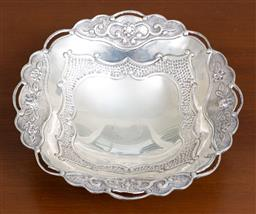Sale 9140H - Lot 36 - A continental 925 silver raised tri footed bowl with floral border, Diameter 21cm, Weight 249g