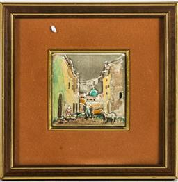 Sale 9164 - Lot 500 - Small framed sterling silver street scene (17cm x 17cm)Plus another Miniature