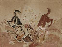 Sale 9180A - Lot 5093 - CEDRIC FLOWER (1920 - 2000) Wild Dogs, 1950 ink, gouache and watercolour on paper 23.5 x 31cm (frame: 57 x 54 x 2 cm) signed and dat...
