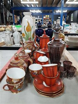 Sale 9176 - Lot 2288 - 2 Small Decanter & Nip Glass Sets with Japanese Egg Shell Tea Set & Another