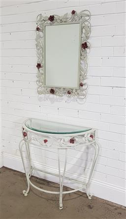 Sale 9188 - Lot 1253 - Metal based console table with mirror (h:74 x w:80 x d:41cm)