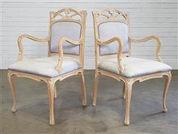 Sale 9240 - Lot 1074 - Pair of French style carvers (h104 x w58 x d51cm)