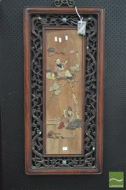 Sale 8291 - Lot 1077 - Chinese Semi-Precious Stone Inlaid Panel, of a scholar & an immortal, within pierced carved rosewood frame (some losses / some piece...
