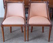 Sale 8800 - Lot 42 - Four Empire style fruitwood side chairs with swan neck carvings.