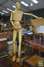 Sale 8326 - Lot 1408 - A Life Size Articulated Timber Artists Mannequin
