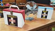 Sale 8383 - Lot 1090 - Two Vintage First Aid Kits and Desk Fan