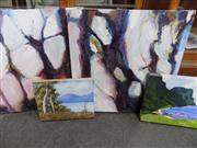 Sale 8433 - Lot 2092 - 4 Artworks on Canvas incl Pair of Gabrielle Jones Tree Studies