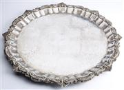 Sale 8528A - Lot 4 - A Georgian style large ornate heavy gage silver plated tray with floral and foliate design, D 54cm