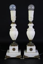 Sale 8989F - Lot 660 - Pair Of Marble Fluted Column Table Lamps H:34cm
