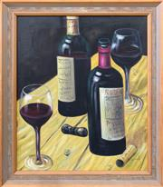 Sale 9069 - Lot 2030 - A Wood Wine Tasters and Taste Makers acrylic on canvas 71 x 61cm, signed -