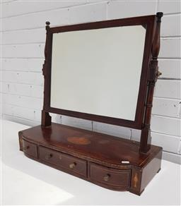 Sale 9142 - Lot 1082 - Regency Mahogany Inlaid Toilet Mirror, with turned posts, the bow front base with shell inlay & three short drawers - missing brass...