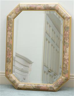 Sale 9190H - Lot 374 - A floral designed cushion framed mirror with bevelled edge