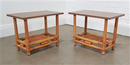 Sale 9255 - Lot 1034 - Pair of timber top cane based side tables (h:46 w:30 d:25cm)