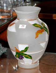 Sale 8098A - Lot 34 - A satin glass vase painted with grapes & leaves