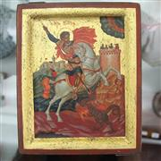 Sale 8236 - Lot 54 - Hand Painted & Gilt Icon of St George the Dragon Slayer