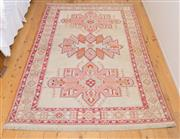 Sale 8380A - Lot 54 - A finely woven Kilim rug in pink and cream tones with geometric motif, 126 x 190