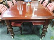 Sale 8460 - Lot 1084 - Victorian Mahogany Extension Dining Table, with two leaves & turned legs with castors