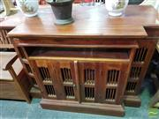 Sale 8550 - Lot 1473 - Rustic Timber Breakfront Entertainment Cabinet with Four Doors