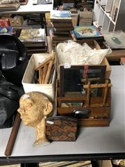 Sale 8797 - Lot 2442 - Group of Sundries incl. Lace, Belts, Bust, Desk Tidy, Bookends, Snow Dome, Bottle Stoppers, etc