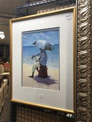 Sale 8824 - Lot 2040 - Decorative Print of a Man on the Beach, frame size: 53 x 42cm