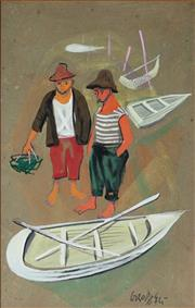 Sale 8947A - Lot 5086 - Artist Unknown - Fishermen and Boats 31.5 x 20 cm (overall: 48.5 x 37 x 1 cm)