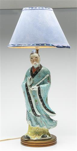Sale 9211 - Lot 14 - Glazed Ceramic Chinese Figural Table Lamp (H:68cm)