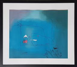Sale 9210 - Lot 1048A - Artist Unknown abstract mixed media, frame: 73 x 73 cm, signed lower left