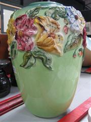 Sale 7953 - Lot 59 - Tall Green Ceramic Vase with Applied Floral Decoration