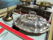 Sale 8047 - Lot 61 - Silver Plated Entree Dish and Antlers on base.